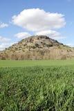 Gras, Berg und Himmel mit Wolken Lizenzfreie Stockfotografie
