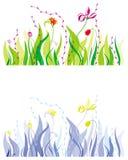 Gras, bladeren en bloemen Royalty-vrije Stock Afbeelding
