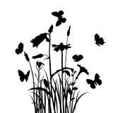 Gras, bloemen en vlinders vector illustratie