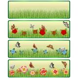 Gras, Blumen und Schmetterlinge Stockfotografie