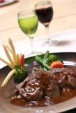 Gras de Foie com vinho vermelho Foto de Stock