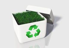 Gras in een doos recycling Royalty-vrije Stock Foto's