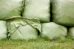 Gras eingewickelt im Plastik Stockbilder