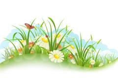 Gras en bloemen royalty-vrije illustratie