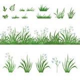 Gras en bloemen, naadloos, en reeksen Stock Afbeeldingen