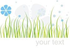Gras en bloemenkaart stock illustratie