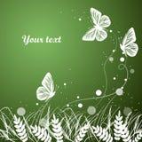 Gras en de achtergrond van vlinderssilhouetten royalty-vrije illustratie