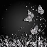 Gras en de achtergrond van vlinderssilhouetten Royalty-vrije Stock Afbeelding
