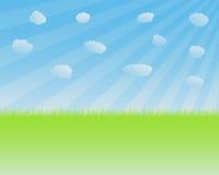 Gras en hemel stock illustratie