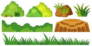 Gras en rotsen in tuin stock illustratie