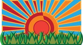 Gras en zon vector illustratie