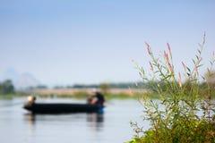 Gras entlang der Flussbank gegen einen Hintergrund von Fischern Lizenzfreies Stockfoto