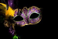 Gras för en lilamardi eller venetian maskering royaltyfri bild