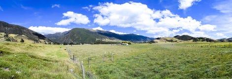 Gras-, Gebirgs- und Wolkenpanorama Lizenzfreie Stockfotos