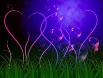 Gras-Herz-Hintergrund bedeutet reizendes Ökosystem oder Natur Stockfoto