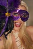 女孩gras mardi被屏蔽的化妆舞会当事人 免版税库存照片