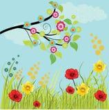 Gras mit Blumen und Zweig Lizenzfreie Stockfotografie
