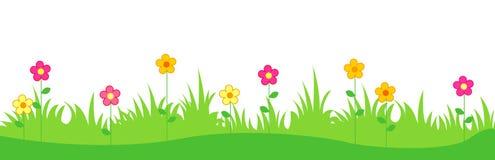 Gras mit Frühlingsblumen Stockbilder