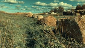 Gras onder wind en rotsen Gras onder wind en rotsen stock footage