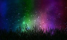 Gras op de achtergrond van kosmische nachthemel Royalty-vrije Stock Afbeelding