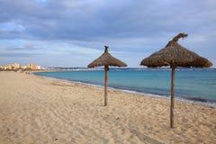 Gras-Regenschirme auf dem Strand Stockbilder