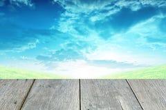 Gras und blauer Himmel mit der hölzernen Pflasterung Stockbild