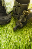 Gras und Zubehör für das Wandern Stockfotografie