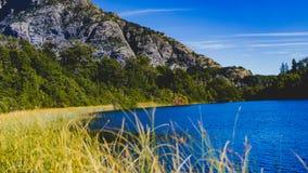 Gras, Wasser, Berge und ein See im Patagonia Lizenzfreie Stockfotografie