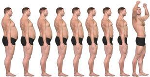 Grasa a ajustar antes después de éxito de la pérdida de peso del hombre 3D Imagenes de archivo