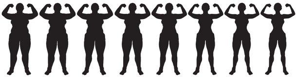 Grasa para adelgazar el frente de la silueta de la transformación de la pérdida de peso de la mujer Imagen de archivo