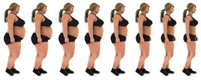 Grasa para adelgazar el tiro del perfil de la transformación de la pérdida de peso de la mujer fotos de archivo libres de regalías