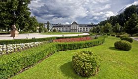 Grasalkovich palace with Garden. Flower garden in Grassalkovich Palace in Bratislava Stock Photography