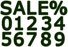Grasartige Buchstaben und Zahlen - Frühling - Sommerschlussverkauf % Stockfotos