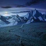 Grasartige Steigungen und felsige Spitzen zusammengesetzt nachts stockbild