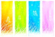 Grasartige vertikale mit Blumenfahnen Stockfotografie