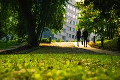 Grasartiger Weg und Schattenbilder von Leuten Lizenzfreies Stockfoto