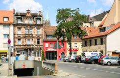 Grasergassestraat in Nurnberg-stad in de zomer royalty-vrije stock afbeelding
