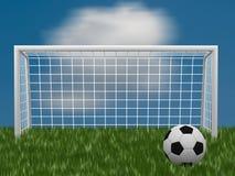 Grasfußballplatz mit Ball und Tor Lizenzfreie Stockfotografie