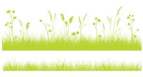 Grasgrens op wit, zwart-wit groen vlak ontwerp op wit Stock Fotografie