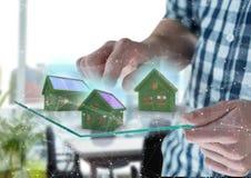 3 Grashäuser auf futuristischem Gerät Lizenzfreie Stockfotos