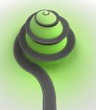 Grasheuvel met spiraalvormige weg rond perspectiefmening Stock Fotografie