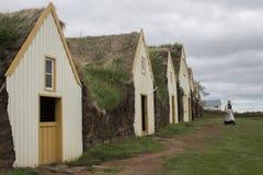 Grashuizen in Glaumbaer in IJsland Stock Afbeelding