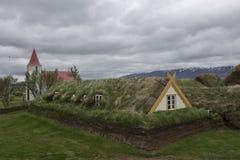 Grashuizen in Glaumbaer in IJsland Royalty-vrije Stock Fotografie