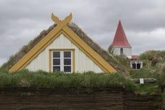 Grashuizen in Glaumbaer in IJsland Royalty-vrije Stock Foto's