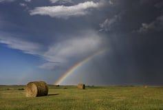 Grasland-Hagel-Sturm und Regenbogen Lizenzfreies Stockfoto