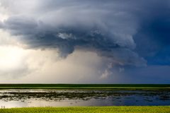 Grasland-Sturm-Wolken Stockfoto
