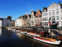 Graslei With Boats in Ghent Stock Photography
