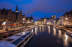 Graslei Gent. The famous Graslei in Gent, Belgium in the historical city centre Royalty Free Stock Images