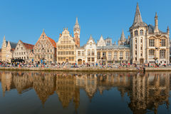 Graslei in Ghent. Attract citizens and guests to enjoy the rest on the pier and get unforgettable memories. GPS information is in the file stock images