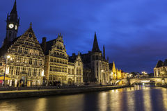 Graslei in Ghent's old city centre in Belgium Stock Images